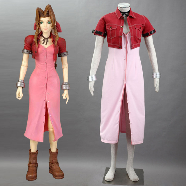 Japanese PSP Game FF Final Fantasy VII Aerith Cosplay Costume fantasia  adult Halloween costumes for women