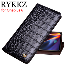 RYKKZ Genuine Leather Flip Case For Oneplus 6T Cover Magnetic case 6 Cases Phone Fundas