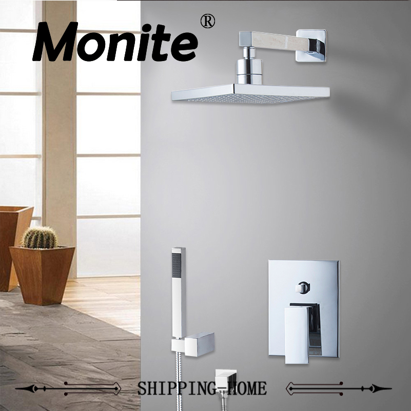 NEW Polish Chrome  Rainfall Square Head Shower Bathroom Shower Set Faucet  Tub Mixer Tap Hand Shower Wall Mounted fie new shower faucet set bathroom faucet chrome finish mixer tap handheld shower basin faucet
