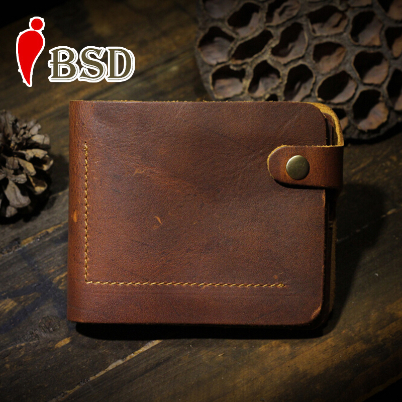 Genuine leather vintage wallet dollar price card holder men wallets and purses handmade personalized short men