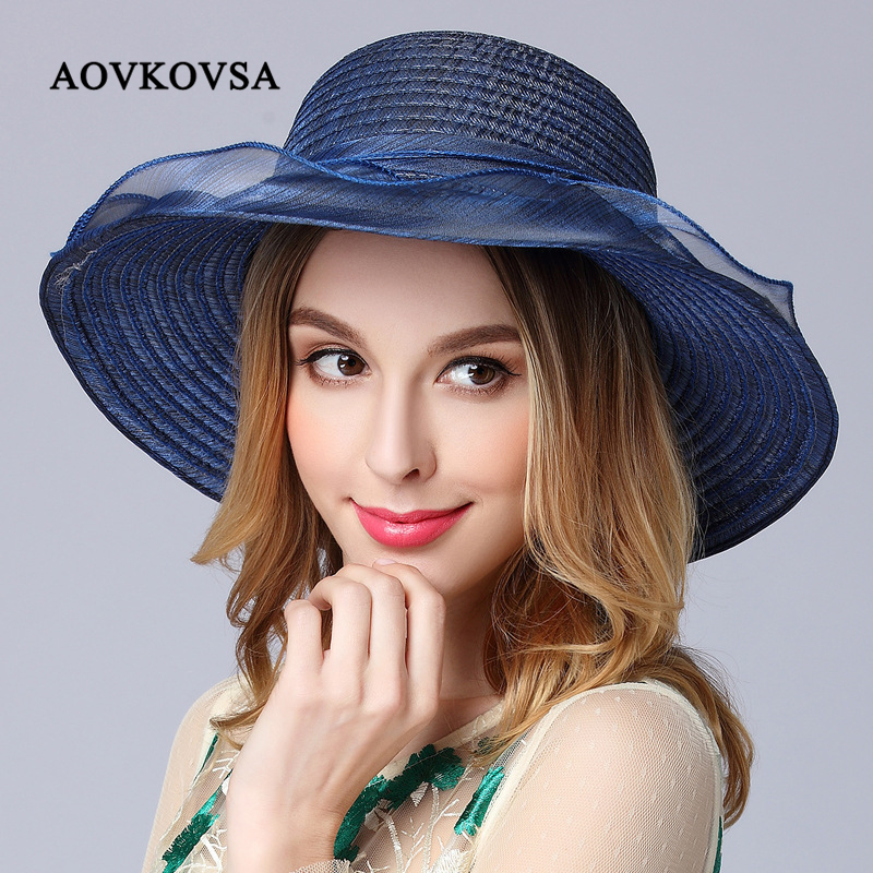 AOVKOVSA New Summer Hats Women Real Silk Flowers Leisure Ladies Big Beach Fishing Hat Elegant and Bucket Hat