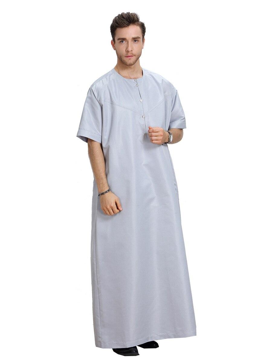 1eaa6f99e5ec New Summer Muslim Men Thobes Arabic Dubai Islamic Clothing O Neck Short  Sleeve Plus Size 3XL Musulman Kaftan