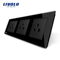 Livolo New US Standard Power Socket Black Crystal Glass Socket 16A Triple Wall Power Outlet Without