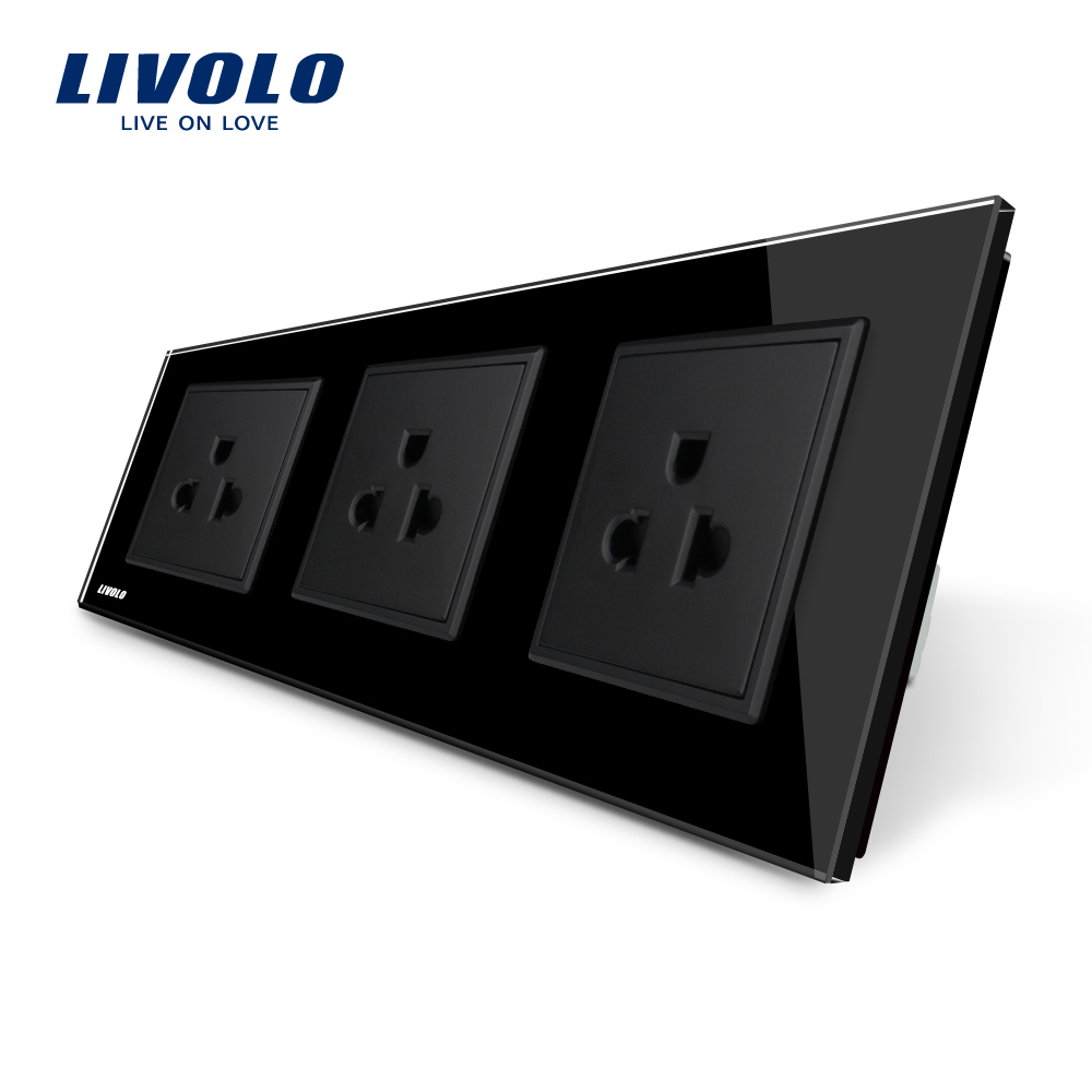 Livolo New US Standard Power Socket, Black Crystal Glass Socket , 16A Triple Wall Power Outlet Without Plug,VL-C7C3US-12 british mk british unit power supply socket metal 13a power outlet british standard unit socket
