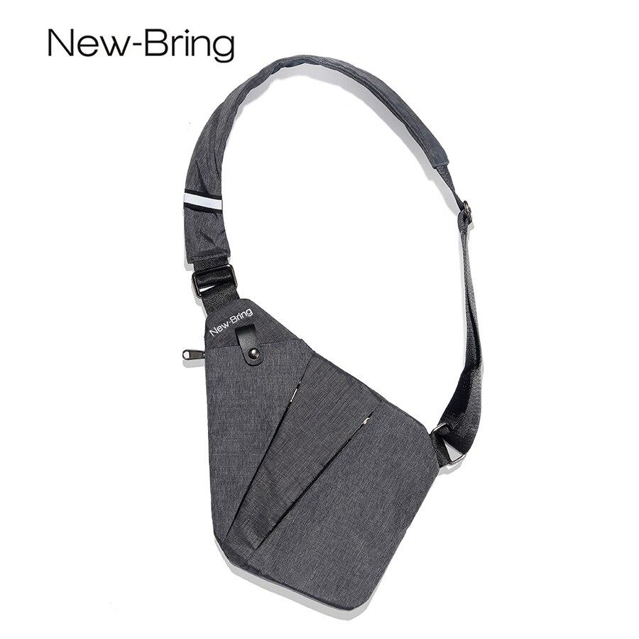 NewBring Летние черные одного плеча сумки для Для мужчин Водонепроницаемый нейлон Crossbody сумки мужской груди мешок