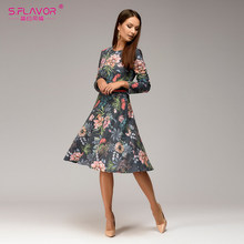 S.FLAVOR Women Floral Printed Spring Dress 2019 Fashion O-neck Long Sleeve Casual A-line Dress Female Elegant Spring Vestidos(China)