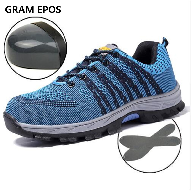 GRAM EPOS Unisex Air Mesh Protect Industry Boots Men Work Safety Shoes Steel Toe Cap Anti-Smash Puncture Proof Big Size Footwear
