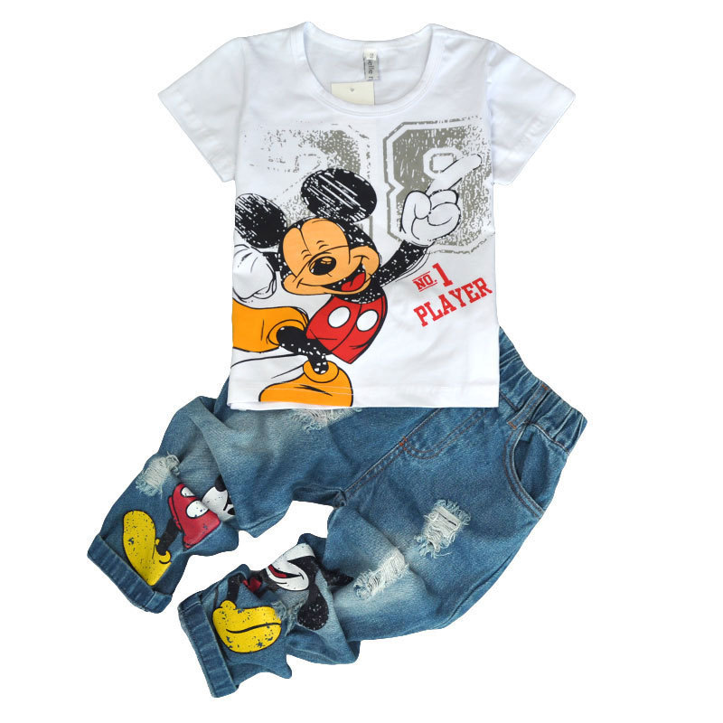 Children's Wear 2018 spring Summer Baby kids Boys Sports casual Suit Mickey boy T-shirt + Hole jeans 2pcs Set Children's Clothes 2pcs children outfit clothes kids baby girl off shoulder cotton ruffled sleeve tops striped t shirt blue denim jeans sunsuit set