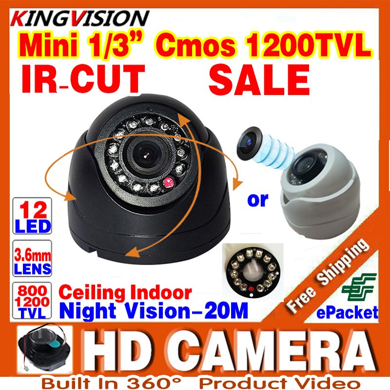 Very small 1/3cmos 1200TVL Mini Indoor Dome Hd Cctv Security small Camera IRcut 12LED Infrared Night Vision 20m color home Vide