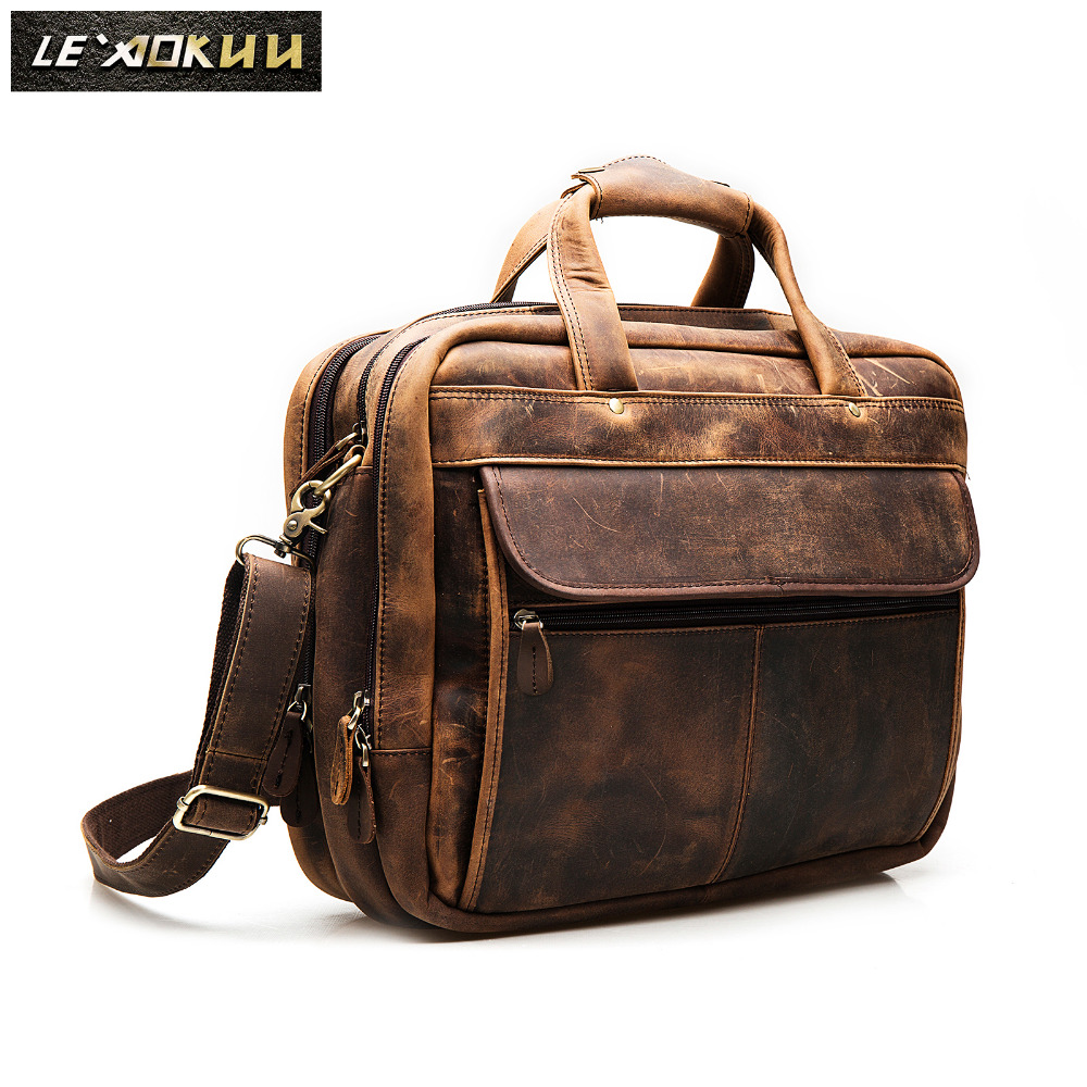 Top Quality Men Leather Antique Retro Travel Briefcase Business 15.6
