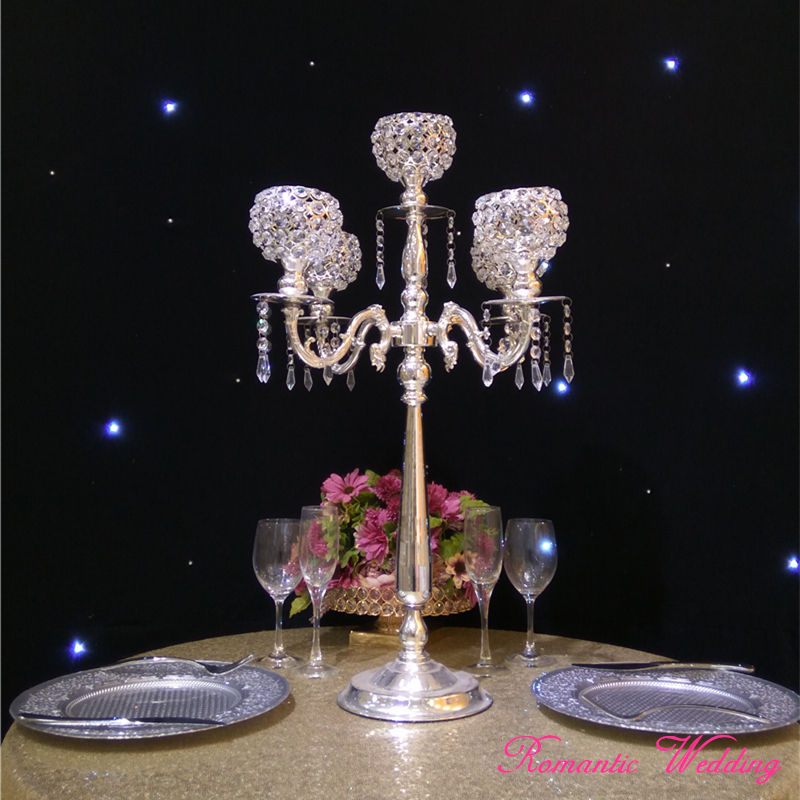 4pcs/lot On Sale Silver-Plated Candelabra Wedding Crystal Metal Candle holder for Wedding party event decoration-30 inch Tall