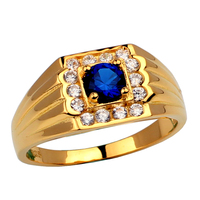 New Men's Gold Color Solid 925 Sterling Silver Ring 5mm Round Stone Jewelry Anillo Hombre R116