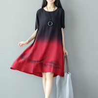New Fashion Summer Dress Women Chinese Style Vintage Print Dip Dye Gradient Color O Neck Short