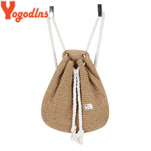 Yogodlns 2019 Summer Women Straw Backpack Handmade Beach Bag Drawstring Knapsack Knitted Crocheted Shoulder Bag Travel Bag(China)