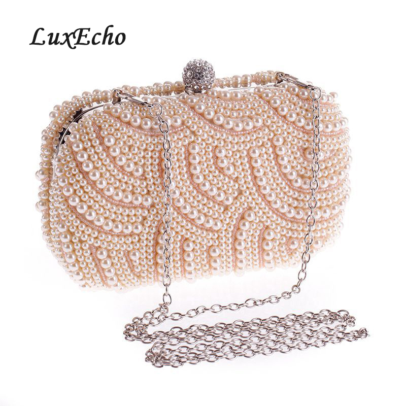 Pearl handmade wedding bags white black ivory pink bridal clutch chain bag  evening
