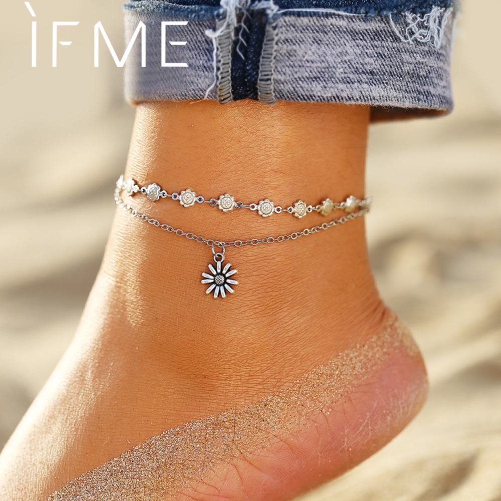 IF ME Bohemian Vintage Silver Color Flower Anklets for Women Multilayer Beach Bracelet on Leg Ankle Foot Female Jewelry 2019 NEW
