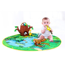 2019 NEW Kids Baby Soft Activity MATS Unfolding Cloth Animal Tails Infant Early Educational Toys for Jungle Farm Children Gift(China)