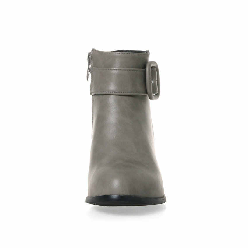 ESVEVA 2020 Kare Topuk Kadın Ayakkabı Kış PU Deri yarım çizmeler Fermuar Motosiklet Muhtasar Sivri Burun kısa çizmeler Boyutu 34-43