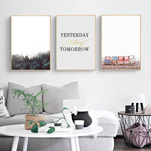Nordic Forest Seaside Scenery Inspirational Simple Canvas Decoration Art Print Poster Home Picture Wall