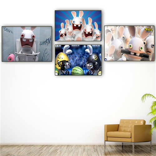 Custom Canvas Poster -raving-rabbids  Printing Posters Cloth Fabric Wall Art  Pictures For Living Room Decor#18-12-05-H-04-219