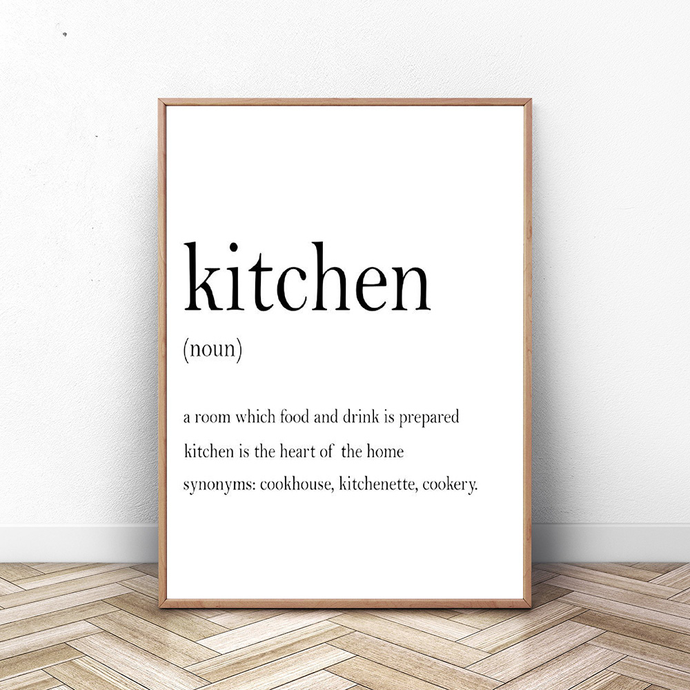 Kitchen Wall Art Prints Set Poster Hunger Angry Noun Wine Definition Canvas Painting Set Of 3 Prints Quote Decoration Picture in Painting Calligraphy from Home Garden