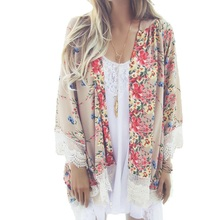 2017 Spring Summer Women Floral Printed Kimono Ladies Casual Open Stitch Loose Outerwear Plus Size Cardigan Coat Tassel Cape