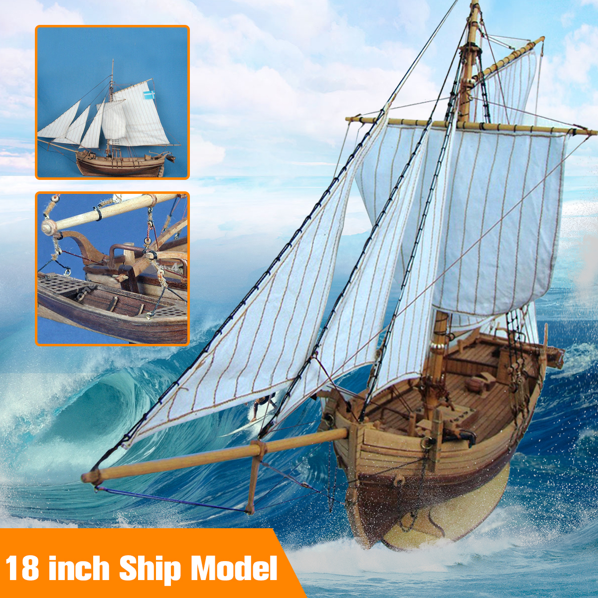 18 inch Classics Sail Boat Model Wooden Swedish Sailboat Ship Kits Home Model Building Kits Decoration Boat Gift Toy цена