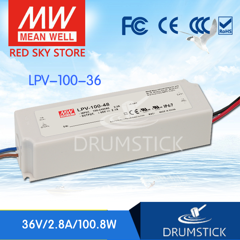 Hot sale MEAN WELL LPV-100-36 36V 2.8A meanwell LPV-100 36V 100.8W Single Output LED Switching Power Supply genuine mean well lpv 100 15 15v 6 7a meanwell lpv 100 15v 100 5w single output led switching power supply