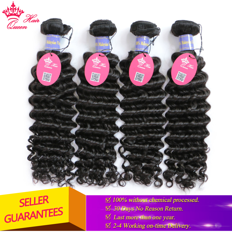 Queen Hair Company 100% Human Hair 4 Bundles Malaysian Deep Wave Natural Color 10-28 inch Weave Virgin Hair Free Shipping