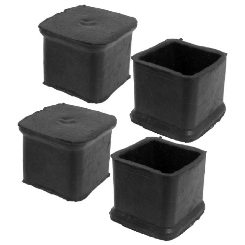 Boutique 4Pcs Black Square Chair Table Leg Rubber Foot Covers Protectors 28mm x 28mm ...