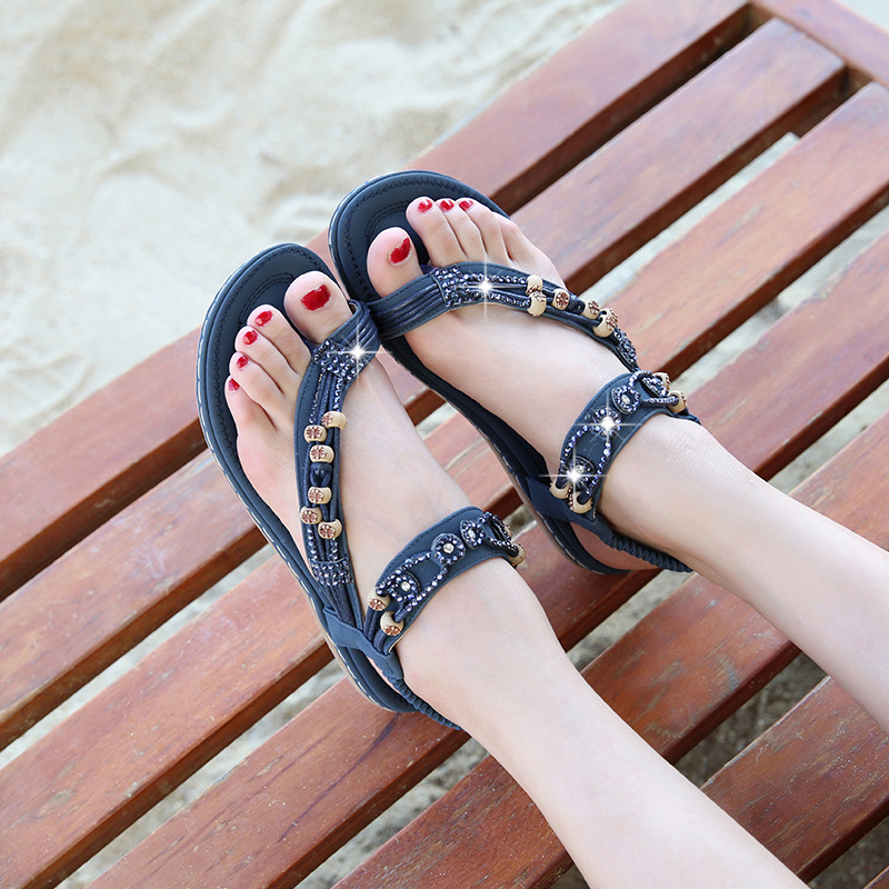 New National Style Women Sandals Bohemia Flats Beaded Size Summer Sandals-in Women's Sandals from Shoes    1