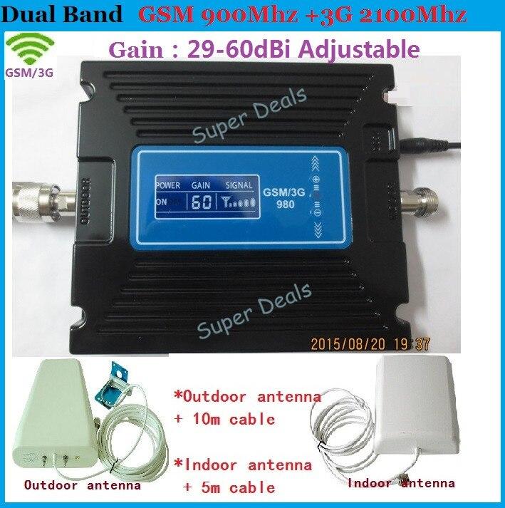 ÉCRAN LCD! Répéteur 2G GSM 3G répéteur de signal double bande 900/2100 mhz! Amplificateur de booster de répéteur de signal GSM WCDMA 3g
