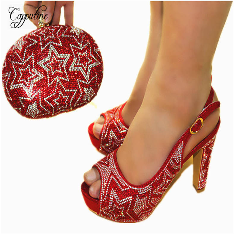 Capputine Italian Desgin Rhinestone Woman Shoes And Bags Set New African Shoes And Matching Bag Set For Party Size 38-42 JC602 shoes and bag set african fashion italian shoes and matching bags set size 38 43 shoes and bag set page 7 page 10 page 2 page 6 page 5
