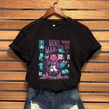 T-Shirt Women Cute Cat Aesthetic Grunge Black Tee Gothic Witchcraft  Tumblr Harajuku Shirt