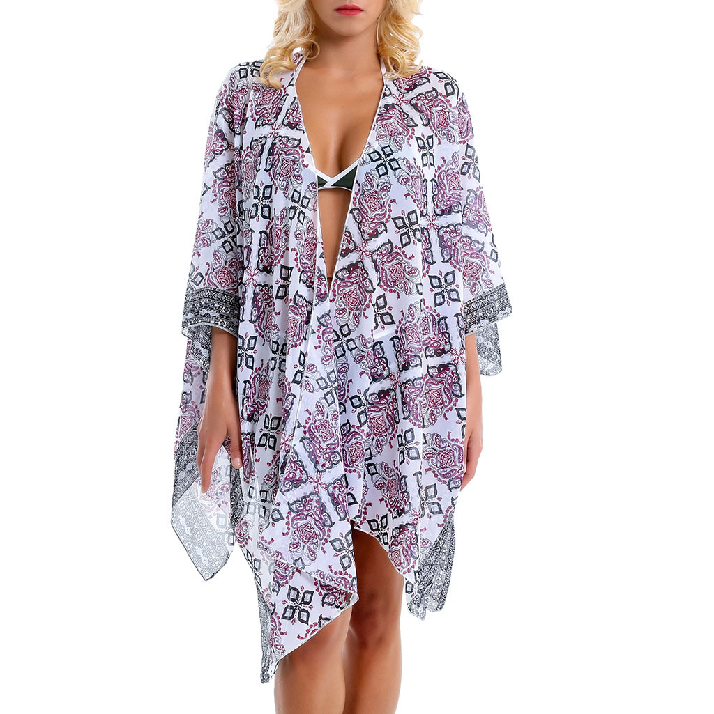 2019 Sexy Chiffon Perspective Beach Dress Women Summer Printed Floral Beach Tunics Shawl Cardigan Bikini Cover Up Kaftan Pareos