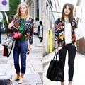 2015 новая мода женщины весна осень винтаж отпечатано куртки шею молнию куртки casaco feminino пальто GL