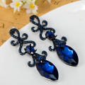 Royal Design Big Glass Stone Brinco Grandes Fashion Women Blue Crystal Earring Wedding Jewelry Woman Joias brand Stud Earings