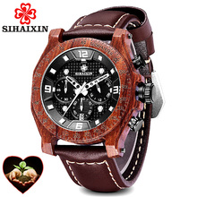 2019 Wooden Watches Men Waterproof Leather Luxury Brand Date Quartz Watch relogio masculino Sports Clock Gift Box Dropshipping