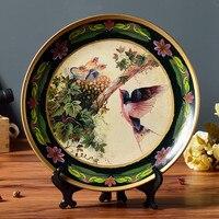 Amerikanischen Land Seite Stil hand ziehen Blume Vögel Keramik Dekorplatte Wohnkultur Kunst und Handwerk Für Thanksgiving Geschenk