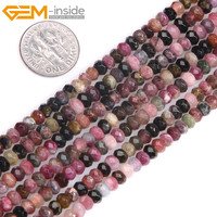 Gem Inside Natural Faceted Heishi Rondelle Disc Spacer Beads Multicolor Tourmaline Beads For Jewelry Making Strand