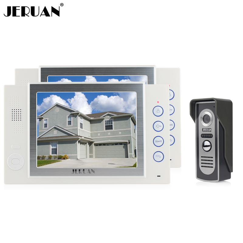 JERUAN 8 inch video door phone doorbell intercom system video doorphone video recording 700TVL COMS Camera monitor intercom jeruan 8 inch video door phone high definition mini camera metal panel with video recording and photo storage function