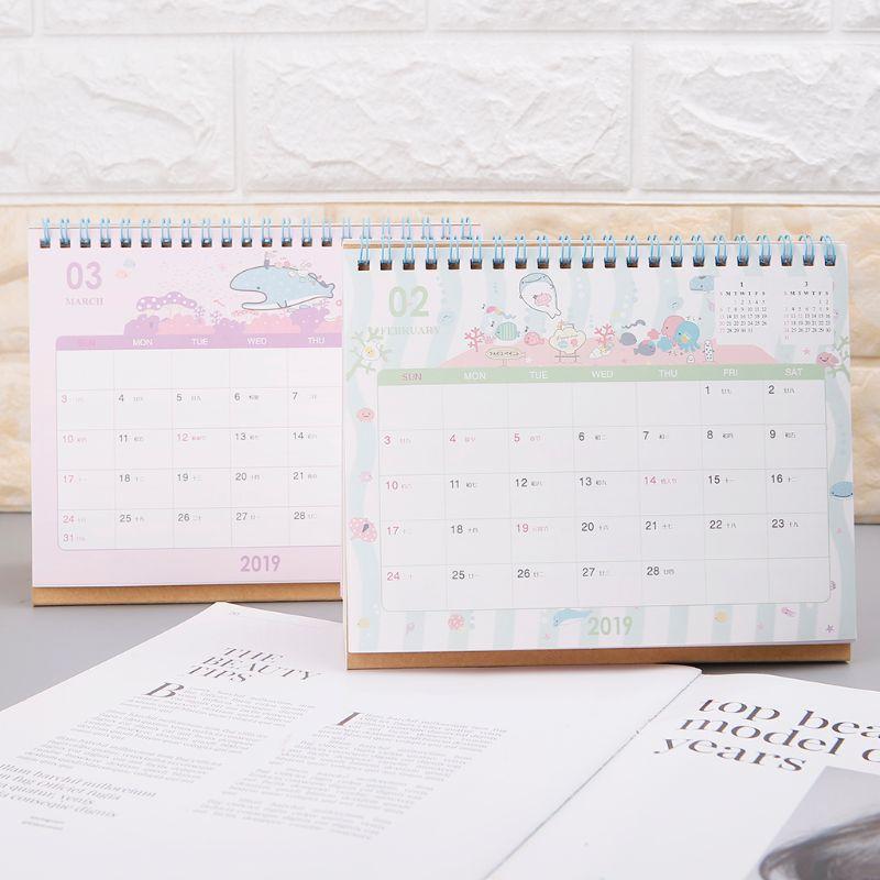 Schöne Neue 2019 Kalender Cartoon Zeichen Desktop Papier Kalender Dual Täglichen Scheduler Tisch Planer Jährlich Agenda Organizer Kalender, Planer Und Karten
