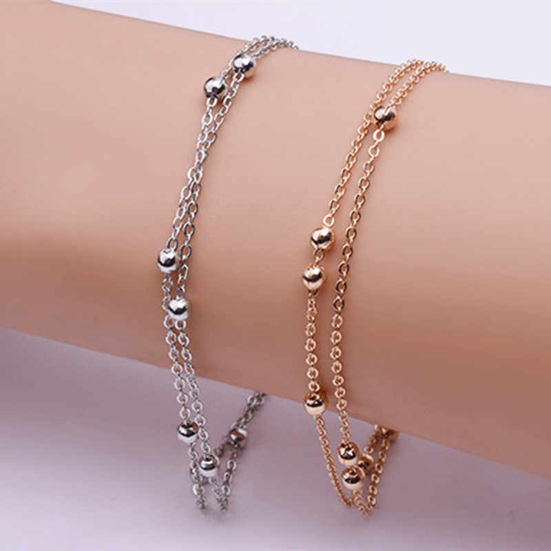 Luxury Gold Color/Silver Color Chain Link Bracelet for Women Ladies OL Style Copper Beads Bracelet Jewelry Wholesale Cheap