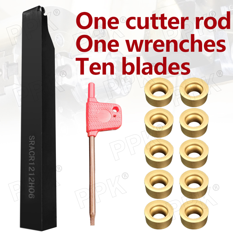 CNC Tool Combination: One Tool Rod + Two Wrenches + Ten Blades SRACR1212H06+10PCS RCMT0602