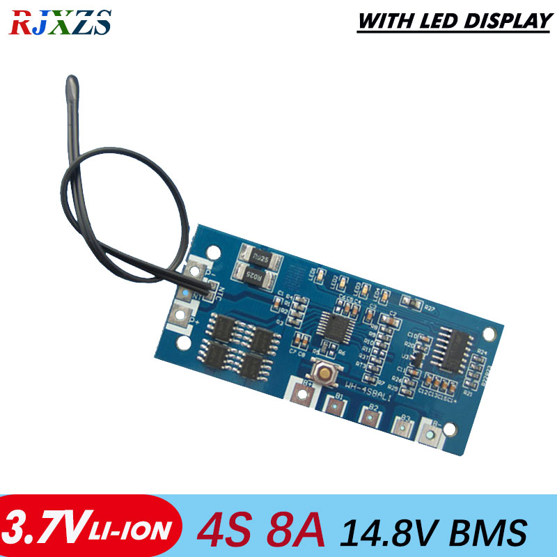 US $8 41 |4S 8A Li ion 14 8v 18650 DIY BMS PCM battery protection board bms  pcm for li ion lipo battery cell pack with LED display-in Integrated