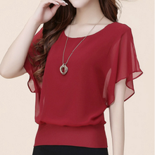 2019 Summer New arrival Women Chiffon Blouse Solid color Bat Short sleeve Oversized 5XL Female Tops