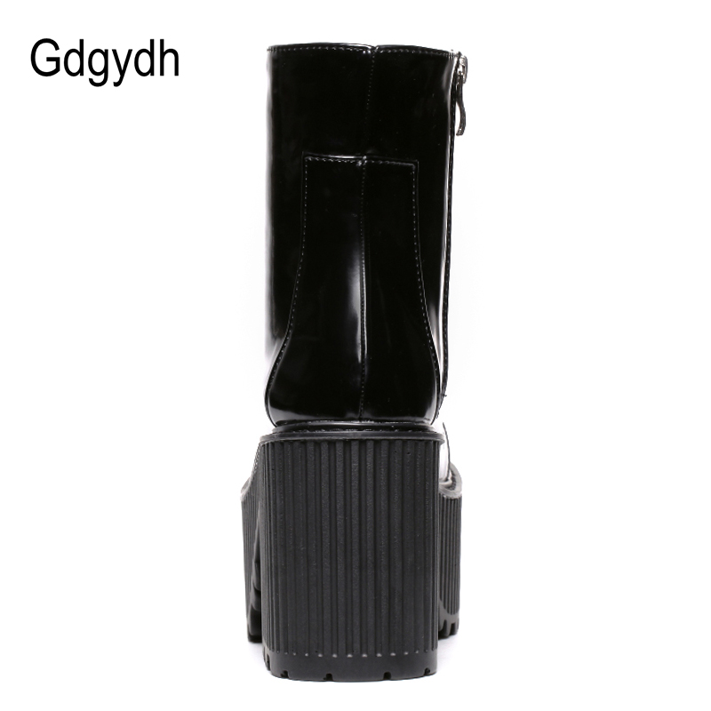 Image 3 - Gdgydh Fashion Ankle Boots For Women Platform Shoes Punk Gothic Style Rubber Sole Lace Up Black Spring Autumn Chunky Boots Woman-in Ankle Boots from Shoes