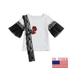 Модная летняя одежда для маленьких девочек, хлопковая черная кружевная футболка с короткими рукавами и цветочным принтом, белые топы, футболки