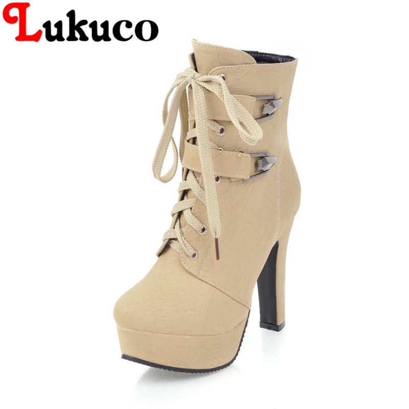 2018 new large size 38 39 40 41 42 43 44 45 46 47 48 49 Lukuco women boots lace-up desig ...