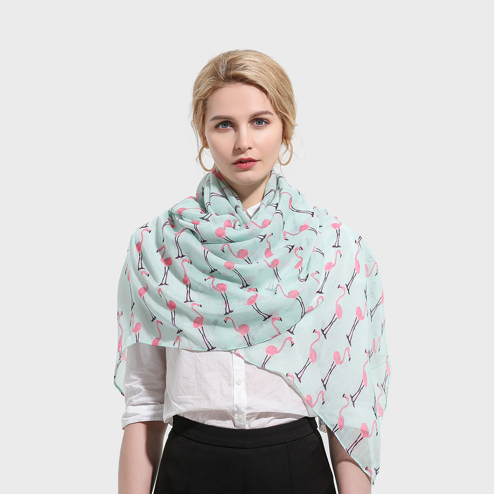 Winfox 2018 New Fashion Mint Green Color Flamingo   Scarves     Wraps   Shawls Foulard Echarpe Scarfs For Ladies